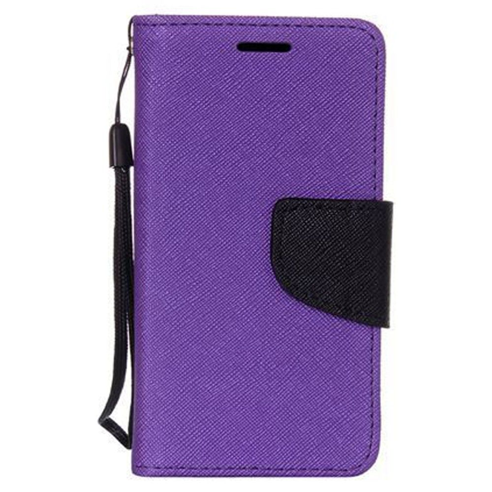 Apple iPhone 8 Plus -  Premium 2 Tone Leather Folding Wallet Case, Purple/Black