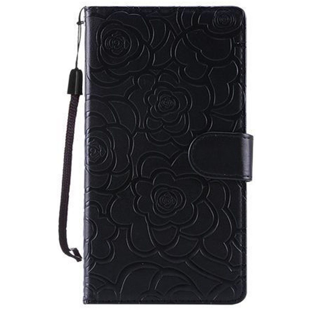 Apple iPhone 8 Plus -  Embossed Flower Design Folding Wallet Case with Wristlet strap, Black