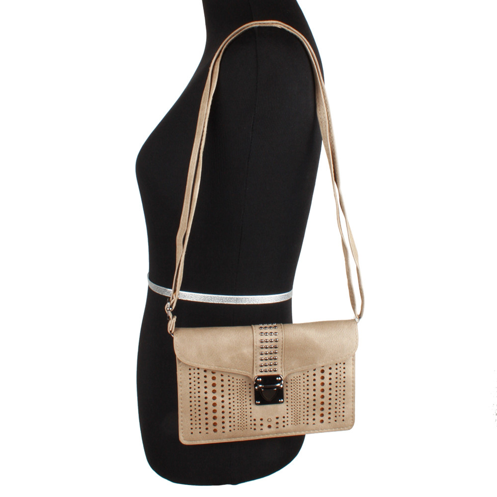 Apple iPhone 8 Plus -  Studded Laser Cut Crossbody Bag Buckle Closure with Adjustable Strap, Taupe