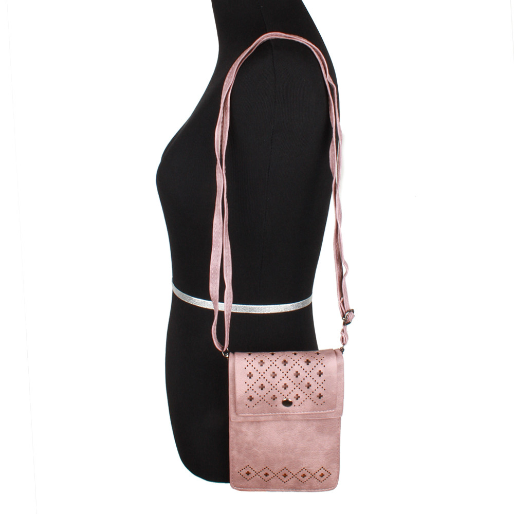 Apple iPhone 8 Plus -  Vegan Suede Diamond Laser Cut Crossbody with Adjustable Strap, Blush
