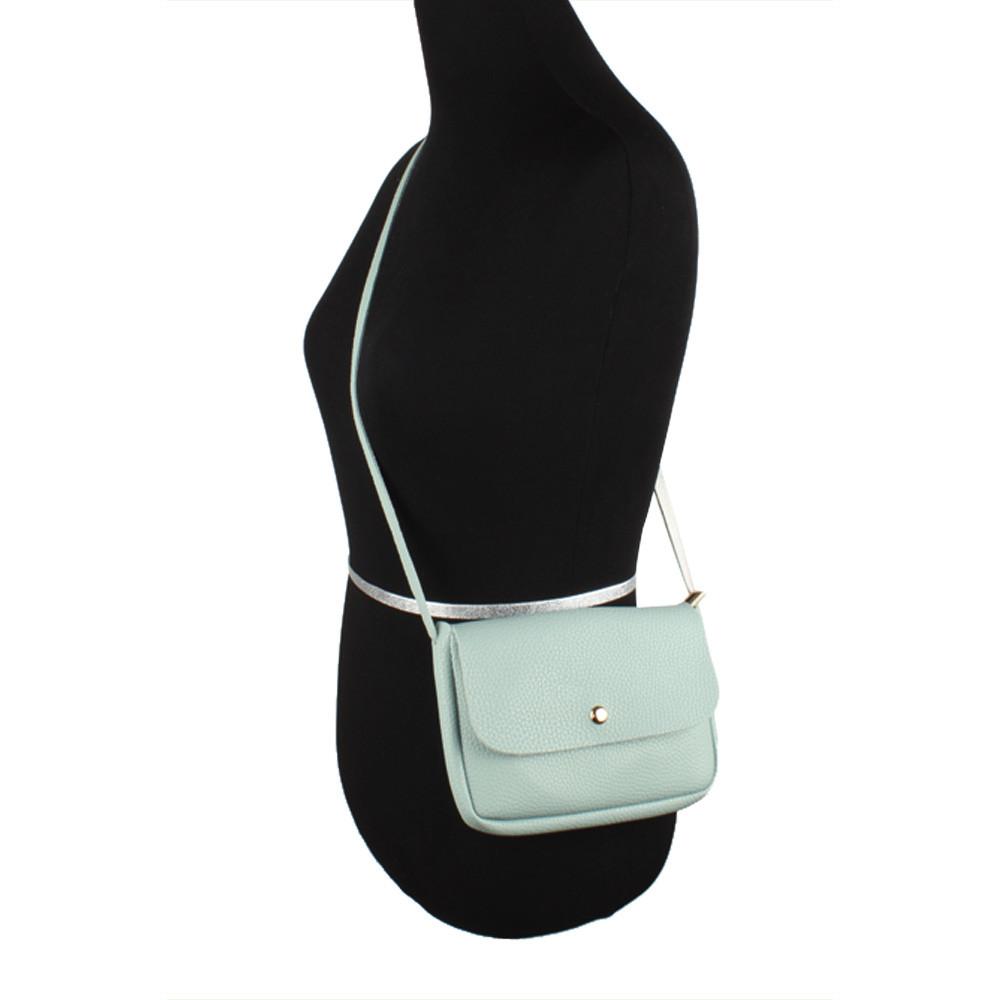 Apple iPhone 8 Plus -  Foldover Flap Crossbody Pouch with Back Pocket, Aqua