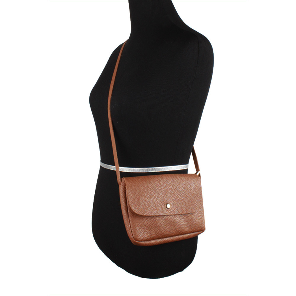 Apple iPhone 8 Plus -  Foldover Flap Crossbody Pouch with Back Pocket, Camel