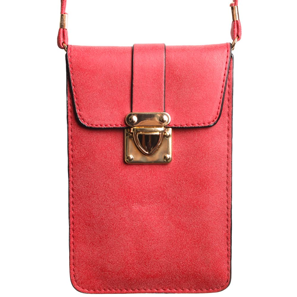 Apple iPhone 8 Plus -  Soft Leather Crossbody Shoulder Bag, Rose Red