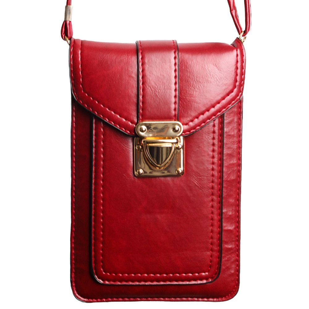 Apple iPhone 8 Plus -  Smooth Vegan Leather Crossbody Shoulder Bag, Red