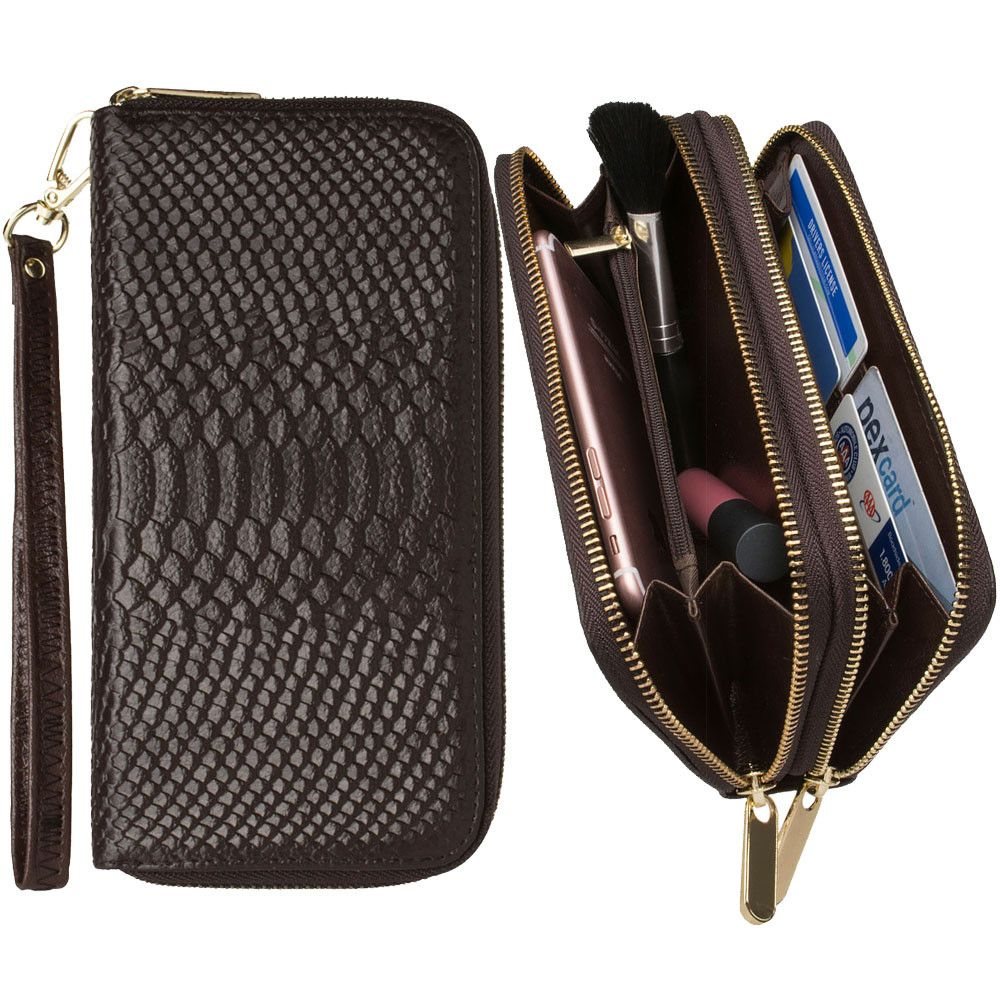 Apple iPhone 8 Plus -  Genuine Leather Hand-Crafted Snake-Skin Double Zipper Clutch Wallet, Cocoa Brown
