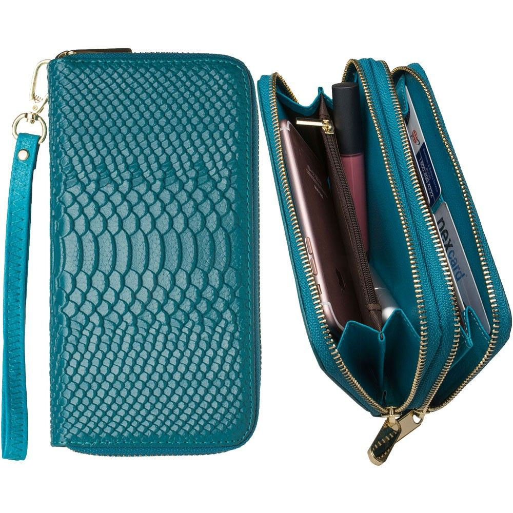 Apple iPhone 8 Plus -  Genuine Leather Hand-Crafted Snake-Skin Double Zipper Clutch Wallet, Turquoise