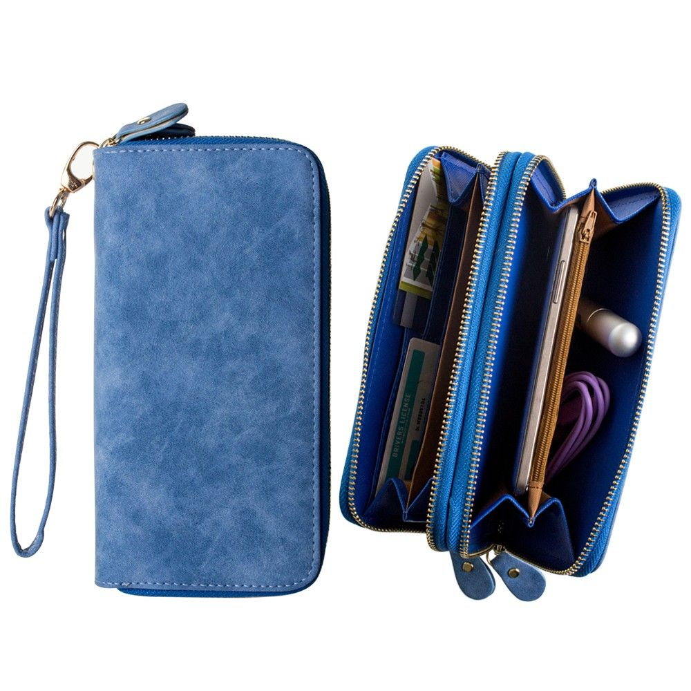 Apple iPhone 8 Plus -  Soft-touch Suede Double Zipper Clutch, Blue