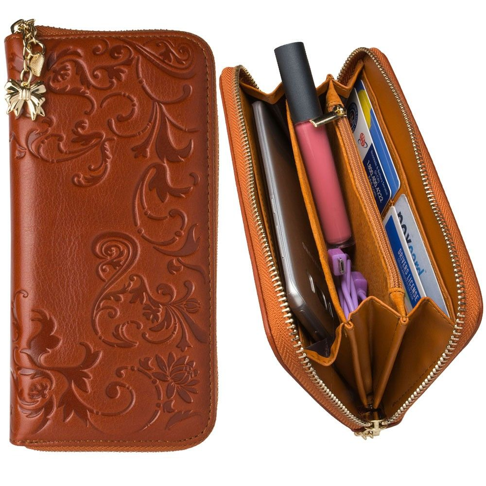 Apple iPhone 8 Plus -  Genuine Leather Hand-Crafted Floral Clutch Wallet, Camel