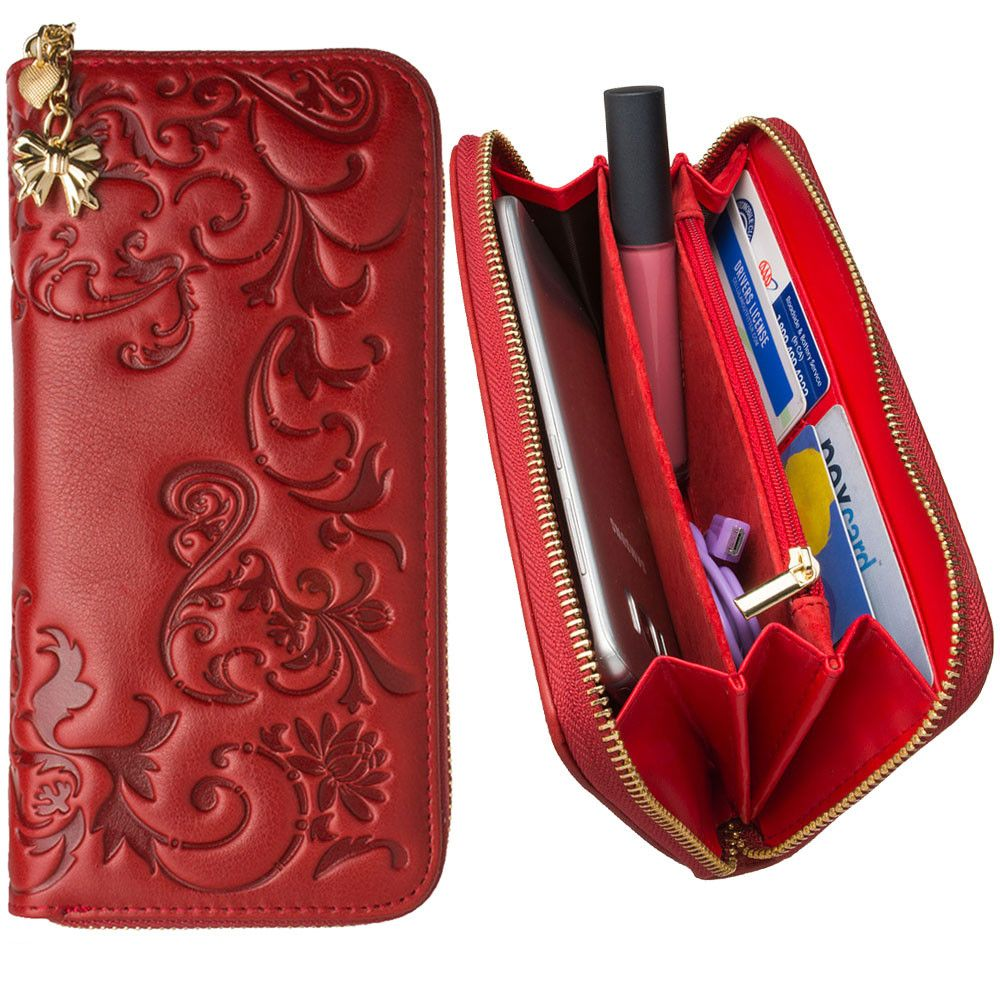 Apple iPhone 8 Plus -  Genuine Leather Hand-Crafted Floral Clutch Wallet, Red