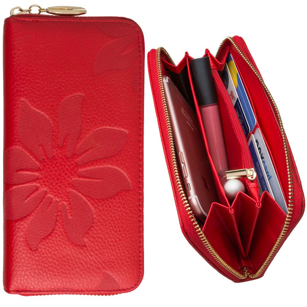 Apple iPhone 8 Plus -  Genuine Leather Embossed Flower Design Clutch, Red