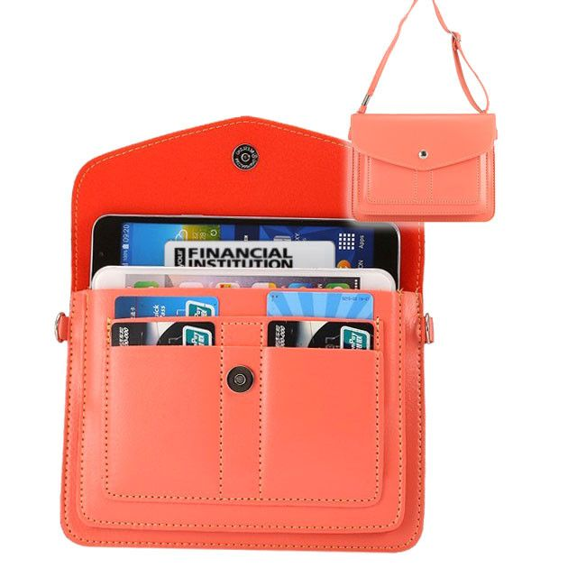 Apple iPhone 8 Plus -  Organizer Crossbody Bag with Card Slots, Coral