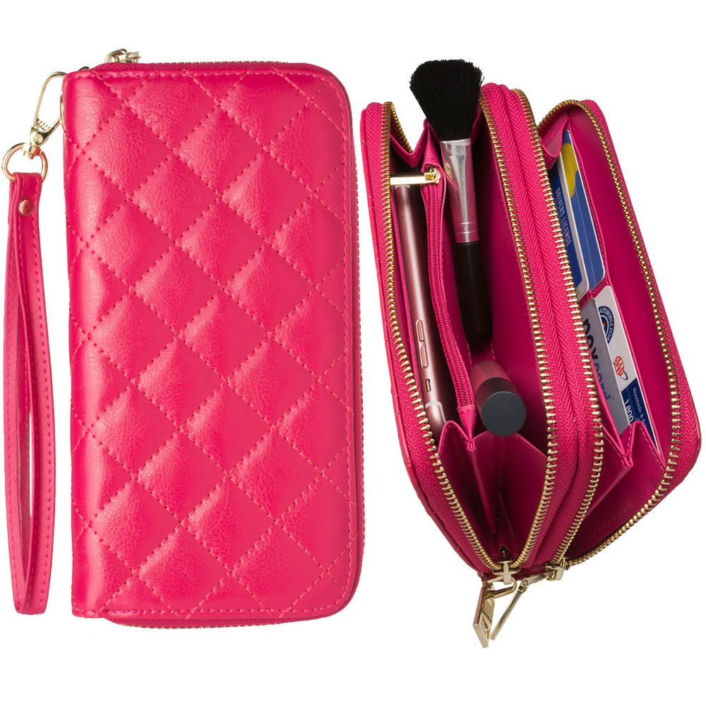 Apple iPhone 8 Plus -  Genuine Leather Hand-Crafted Quilted Double Zipper Clutch Wallet, Hot Pink