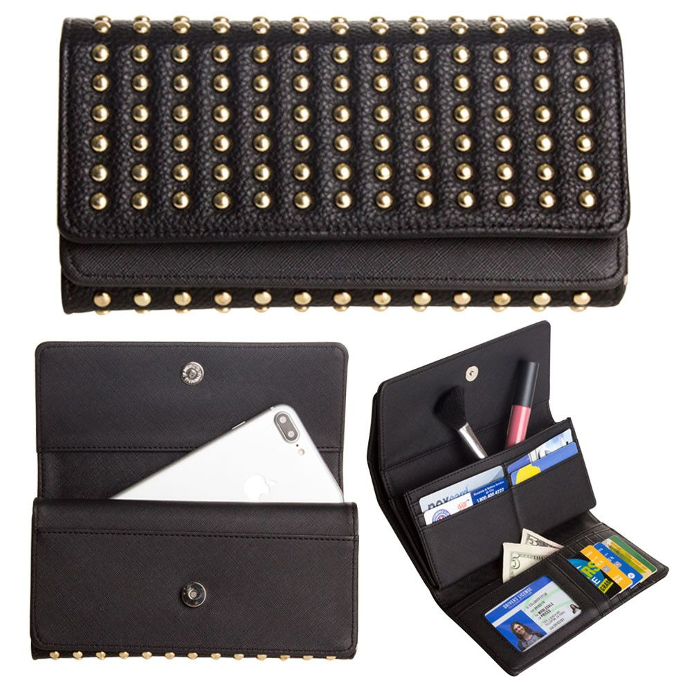 Apple iPhone 8 Plus -  Full Rockstud Tri-Fold Clutch, Black/Gold