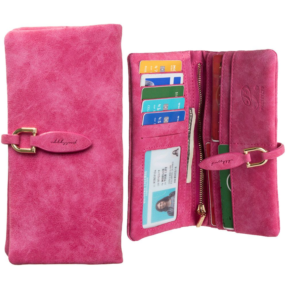 Apple iPhone 8 Plus -  Slim Suede Leather Clutch Wallet, Hot Pink