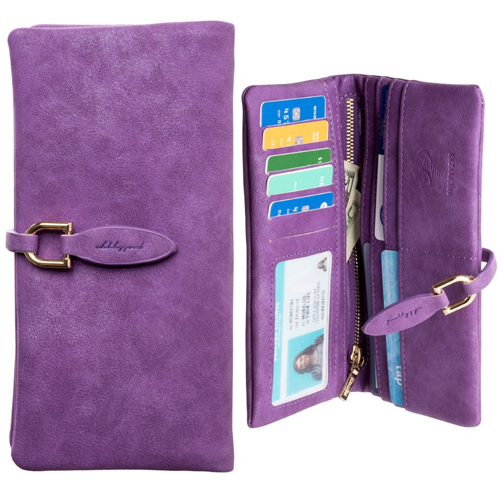 Apple iPhone 8 Plus -  Slim Suede Leather Clutch Wallet, Purple