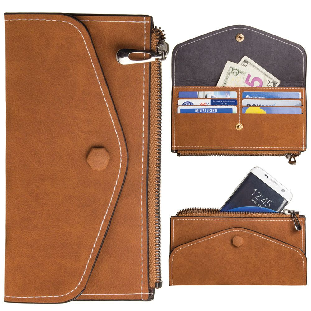 Apple iPhone 8 Plus -  Extra Slim Snap Button Clutch wallet with Zipper, Brown