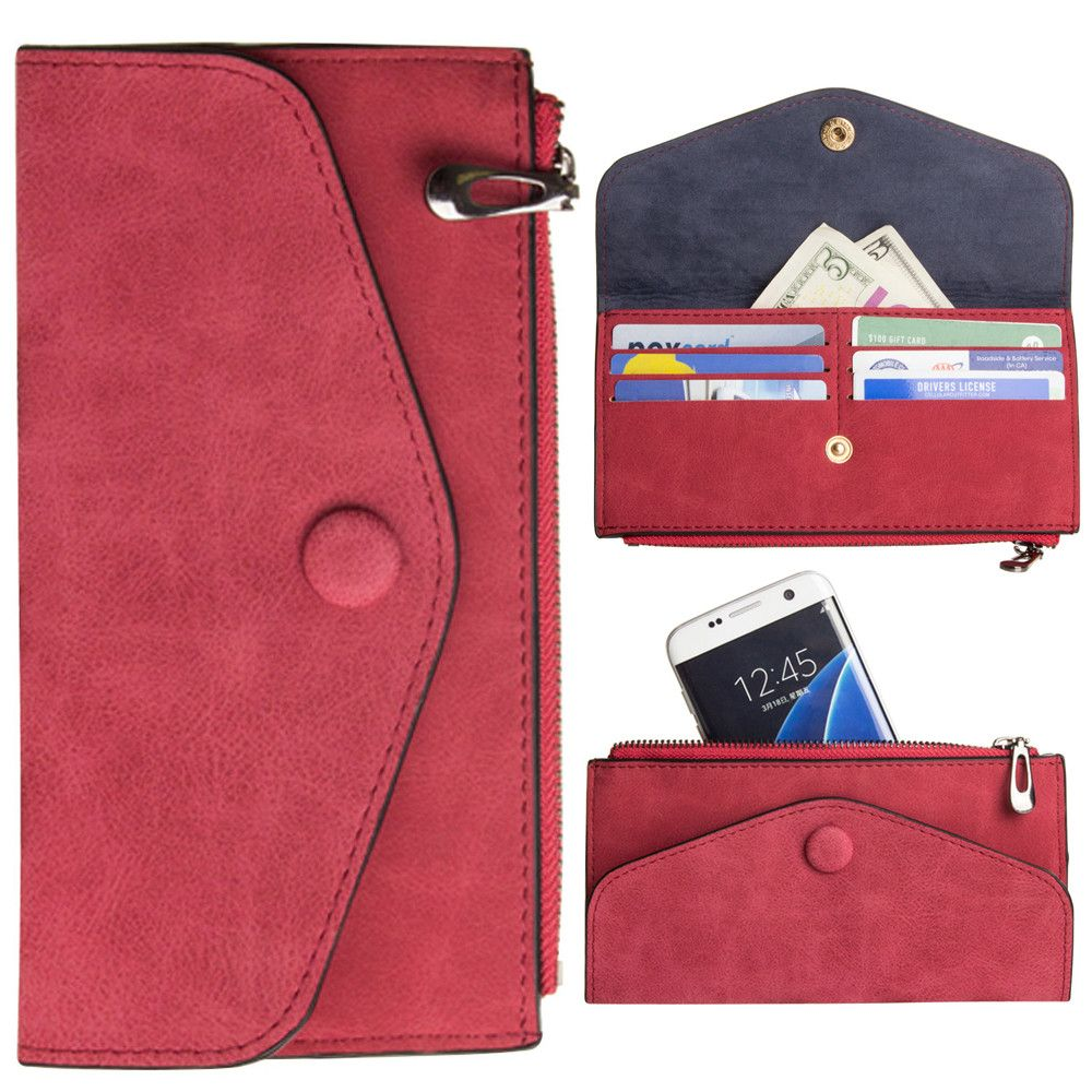 Apple iPhone 8 Plus -  Extra Slim Snap Button Clutch wallet with Zipper, Rose Red