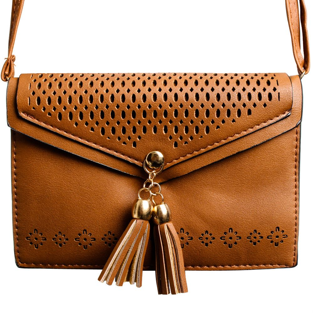 Apple iPhone 8 Plus -  Fringe Tassel Shoulder Bag, Light Brown