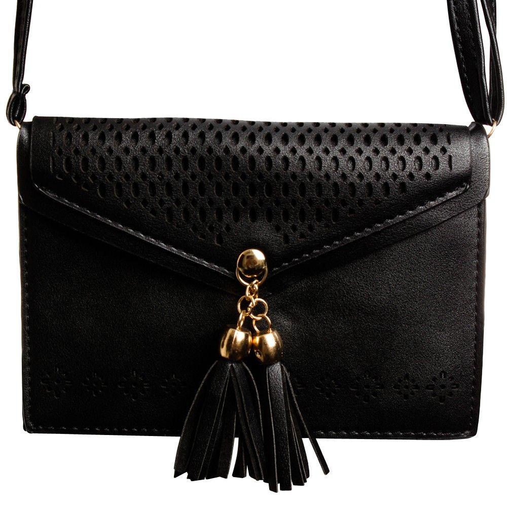Apple iPhone 8 Plus -  Fringe Tassel Shoulder Bag, Black