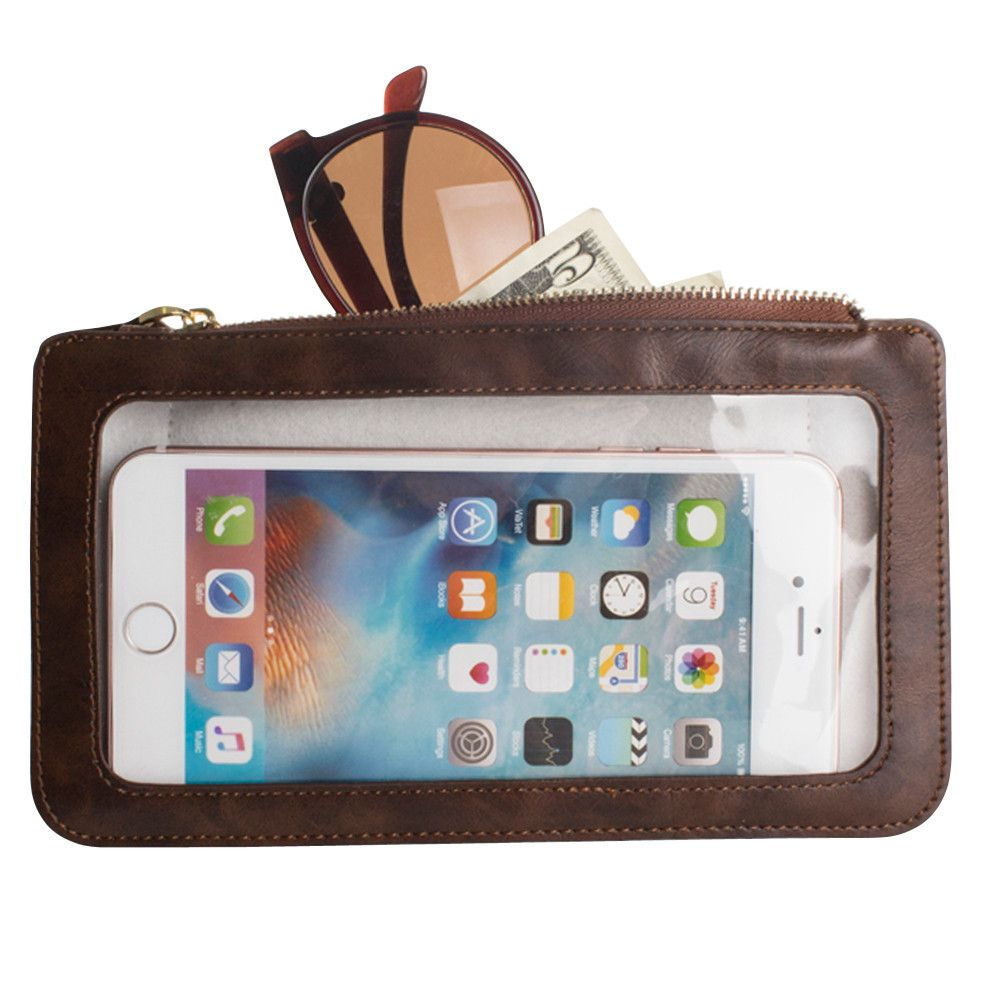 Apple iPhone 8 Plus -  Full Screen View Wristlet with Complete Touch Control, Brown