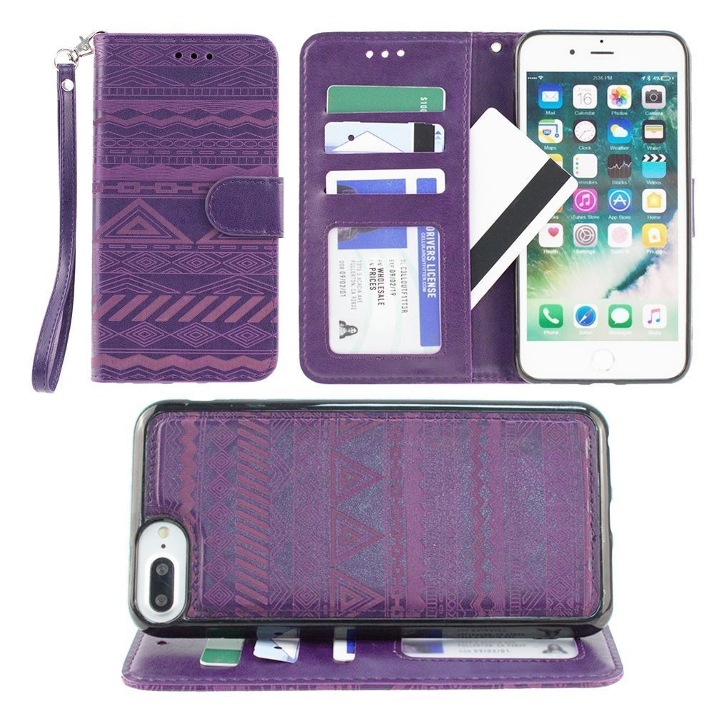 Apple iPhone 8 Plus -  Aztec tribal laser-cut wallet with detachable matching slim case and wristlet, Purple