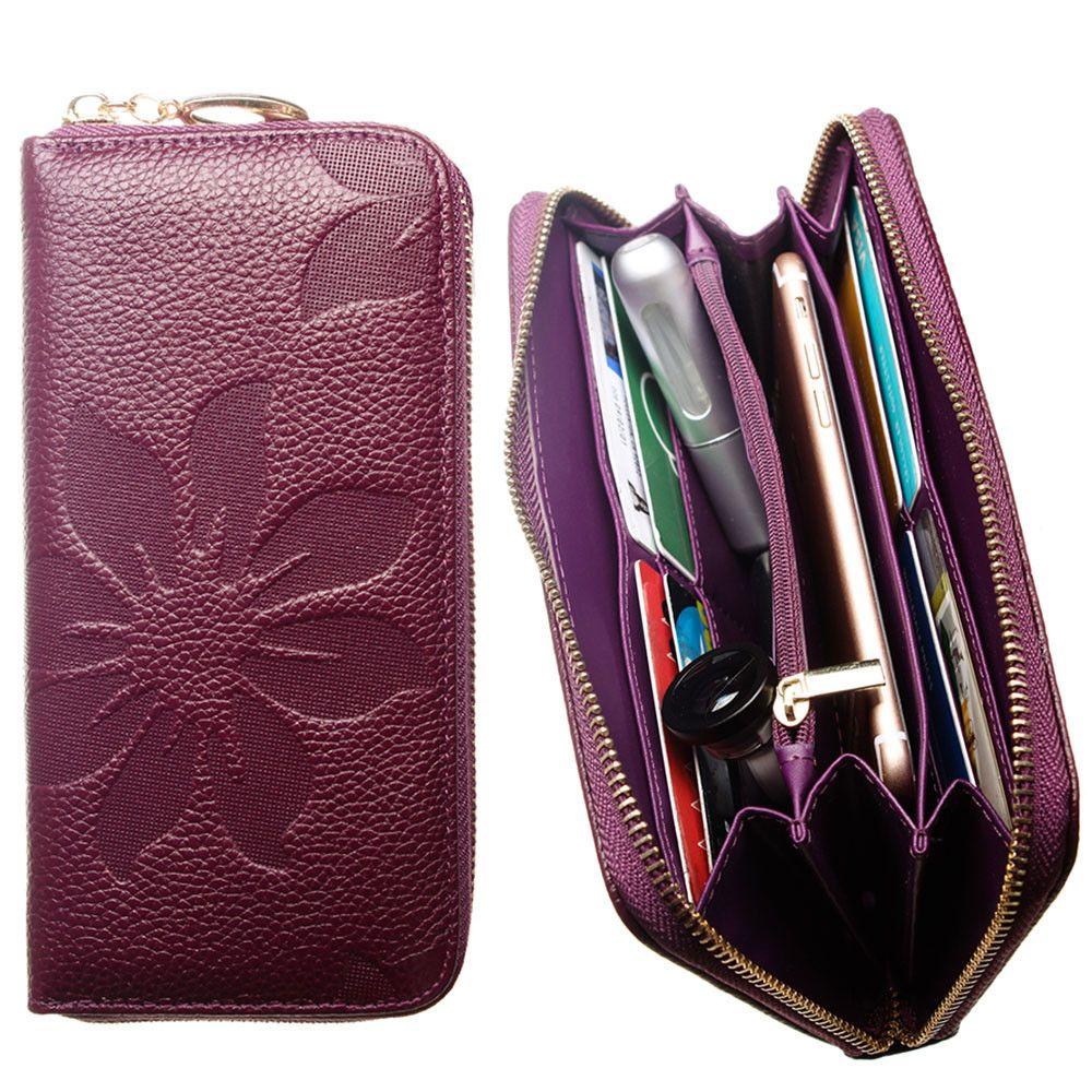 Apple iPhone 8 Plus -  Genuine Leather Embossed Flower Design Clutch, Purple