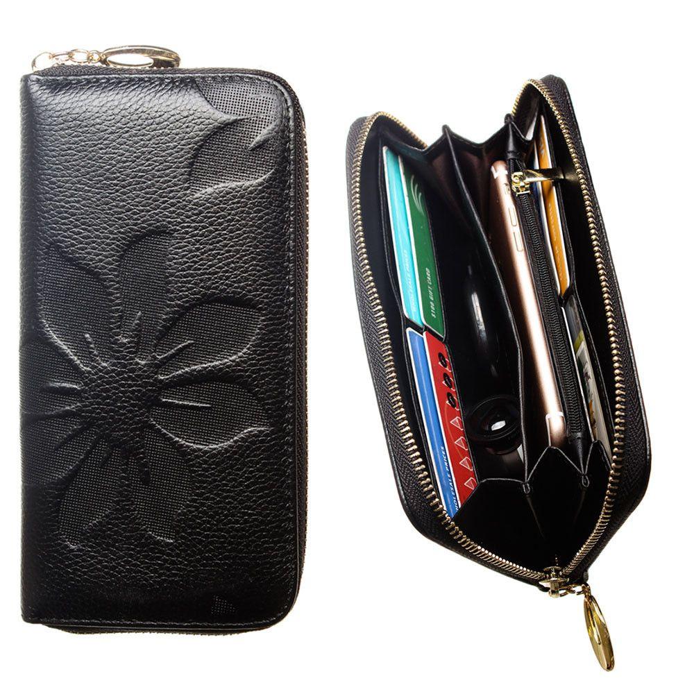 Apple iPhone 8 Plus -  Genuine Leather Embossed Flower Design Clutch, Black