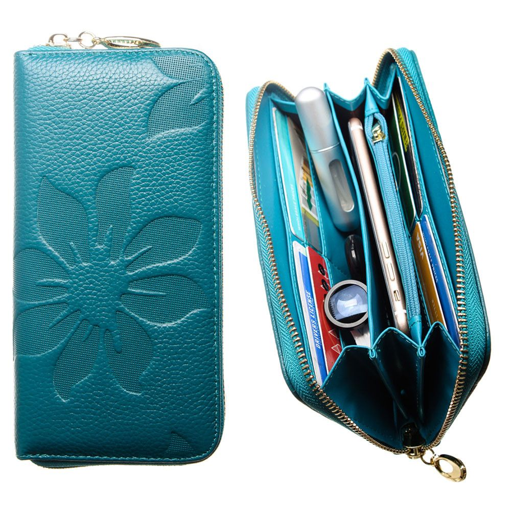 Apple iPhone 8 Plus -  Genuine Leather Embossed Flower Design Clutch, Teal Blue