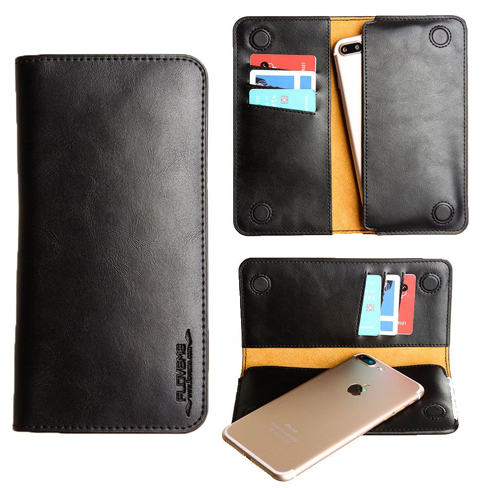 Apple iPhone 8 Plus -  Slim vegan leather folio sleeve wallet with card slots, Black