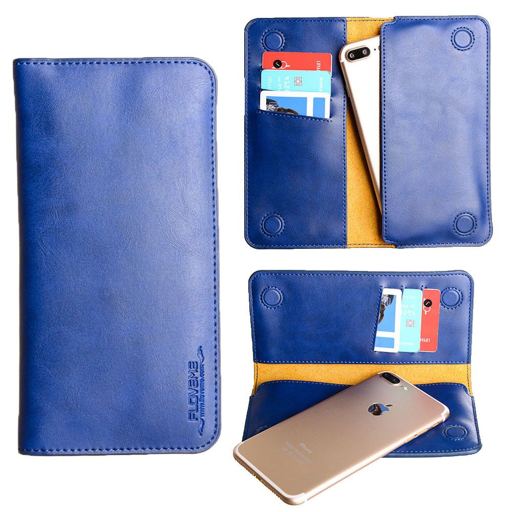 Apple iPhone 8 Plus -  Slim vegan leather folio sleeve wallet with card slots, Dark Blue