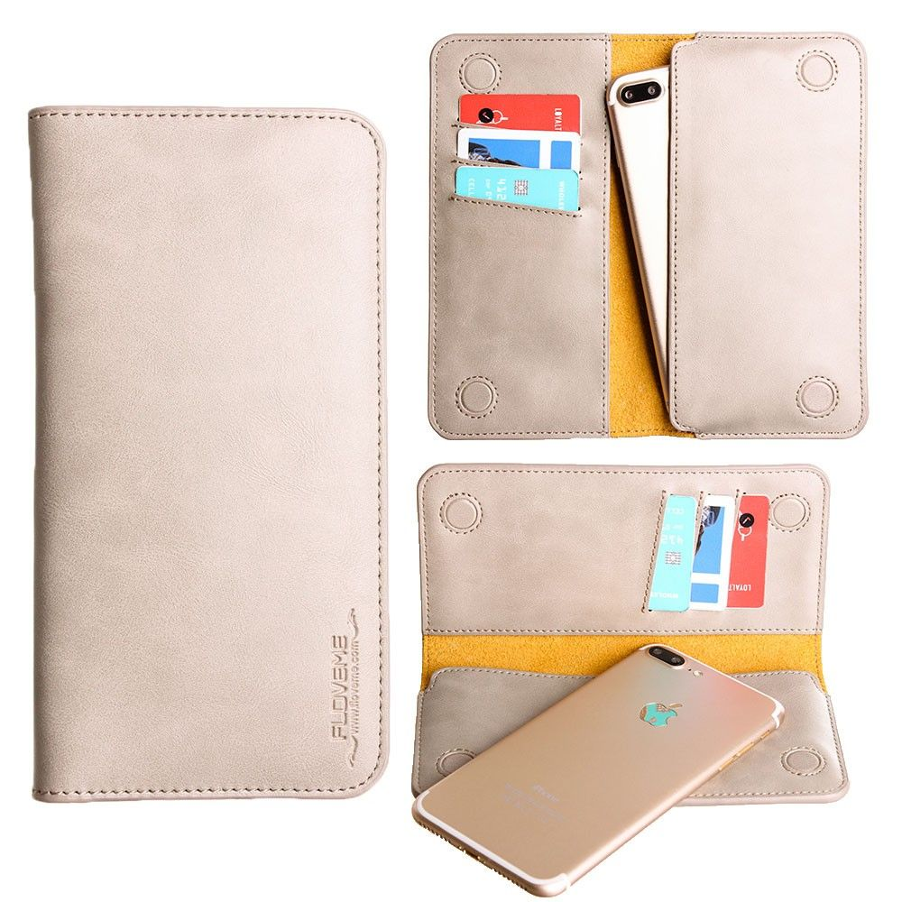 Apple iPhone 8 Plus -  Slim vegan leather folio sleeve wallet with card slots, Gray
