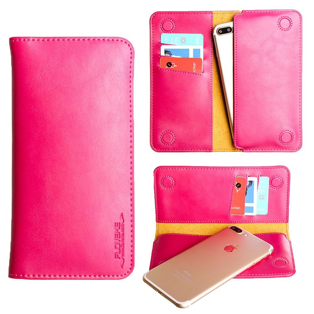 Apple iPhone 8 Plus -  Slim vegan leather folio sleeve wallet with card slots, Hot Pink
