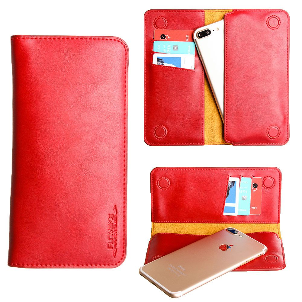 Apple iPhone 8 Plus -  Slim vegan leather folio sleeve wallet with card slots, Red