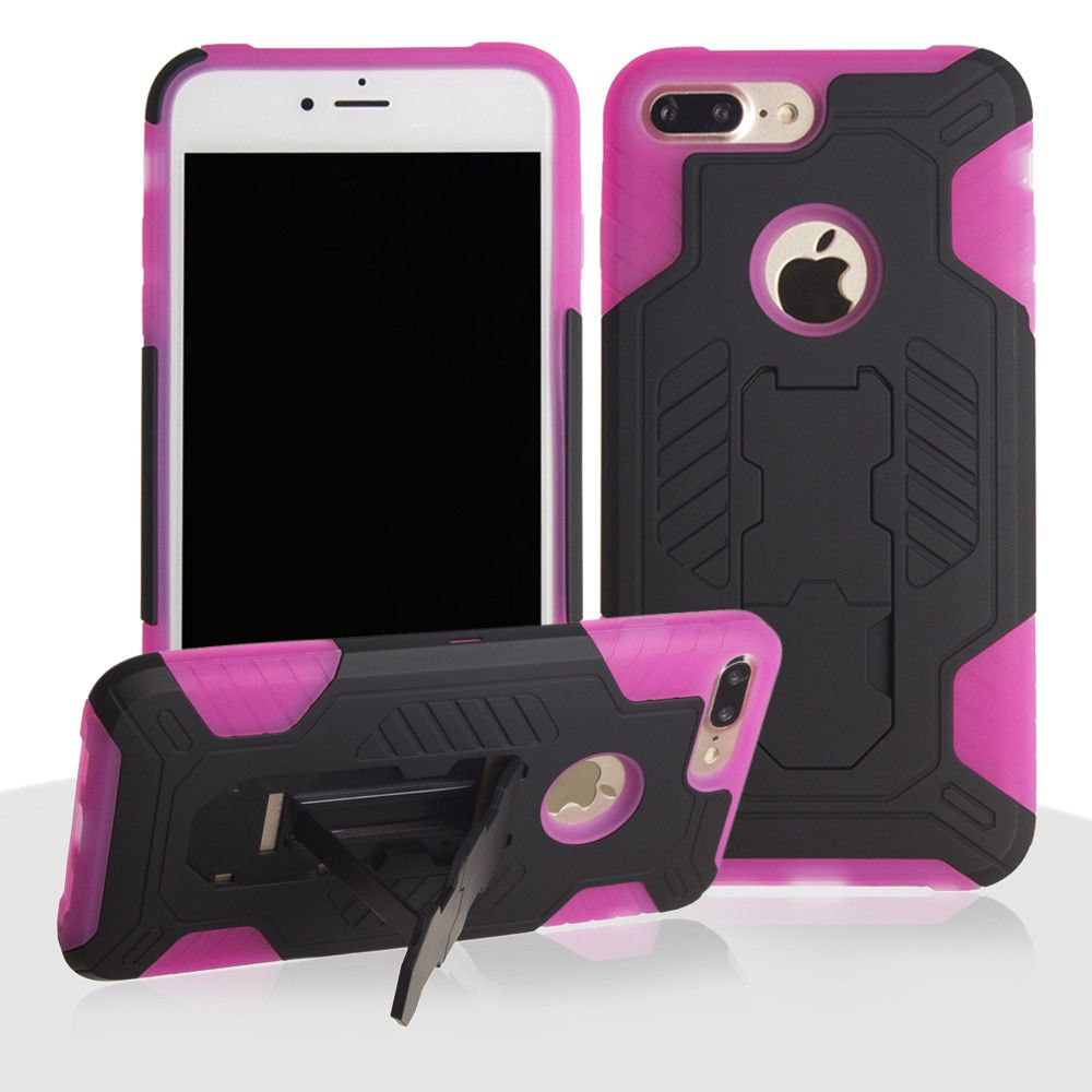 Apple iPhone 8 Plus -  Mantas Heavy-Duty Rugged Case with Stand and Holster Combo, Black/Hot Pink