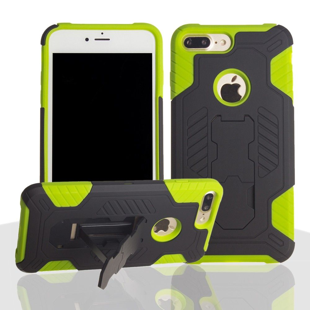 Apple iPhone 8 Plus -  Mantas Heavy-Duty Rugged Case with Stand and Holster Combo, Black/Neon Green