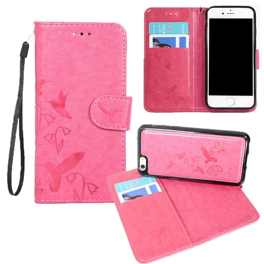 Apple iPhone 8 Plus -  Embossed Humming Bird Design Wallet Case with Matching Removable Case and Wristlet, Hot Pink