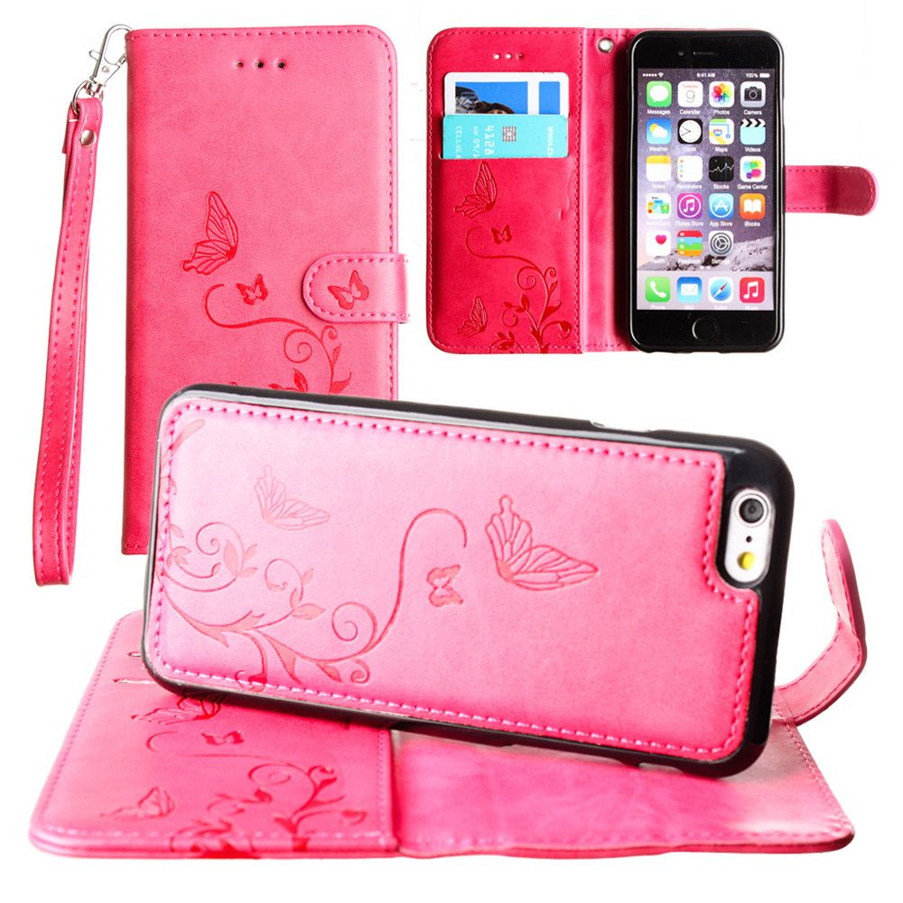 Apple iPhone 8 Plus -  Embossed Butterfly Design Wallet Case with Detachable Matching Case and Wristlet, Hot Pink