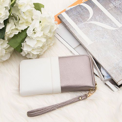 Apple iPhone 8 Plus -  Two Toned Designer style Clutch wallet, Bronze/White