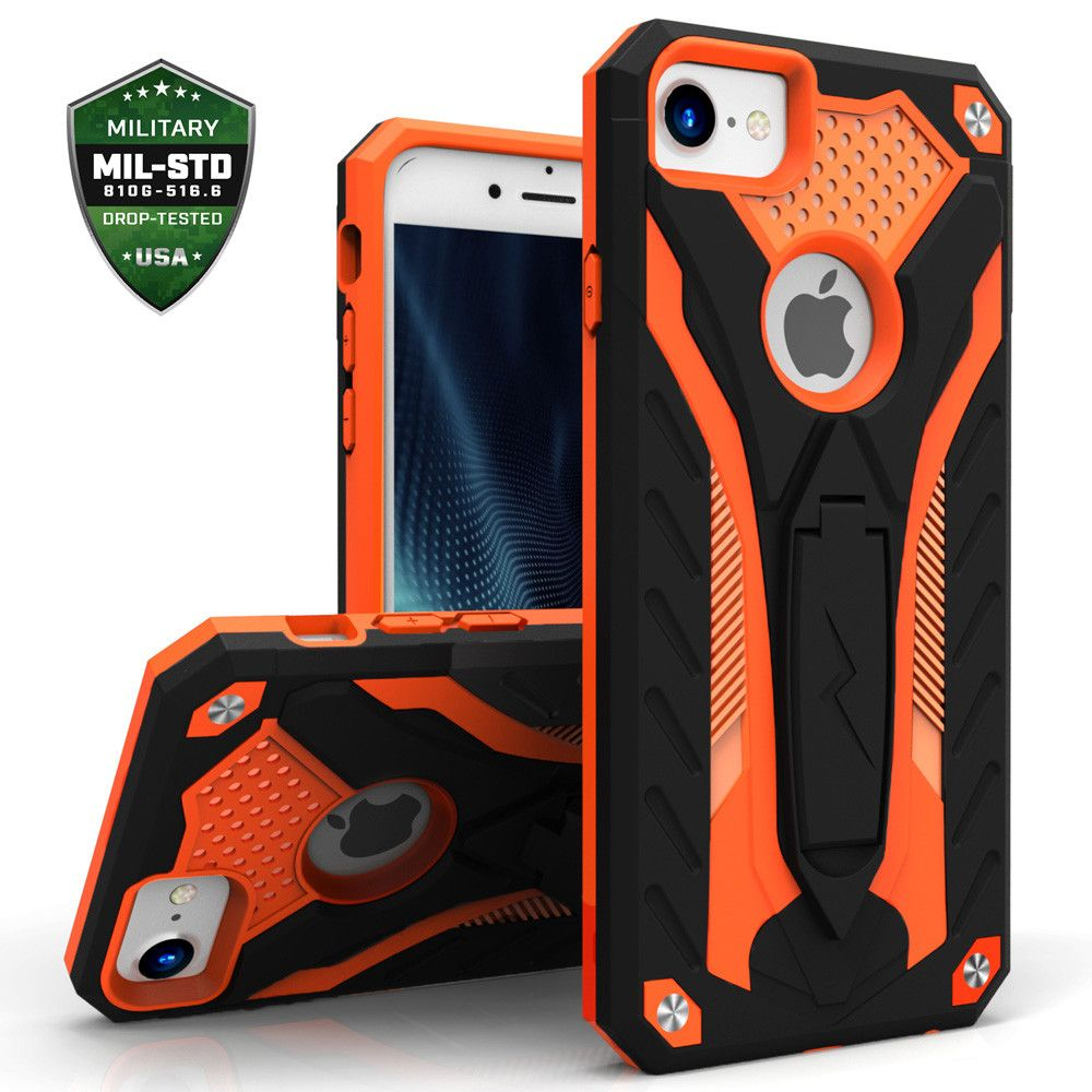 Apple iPhone 8 -  Zizo Static Hybrid Rugged Case with kickstand, Black/Orange