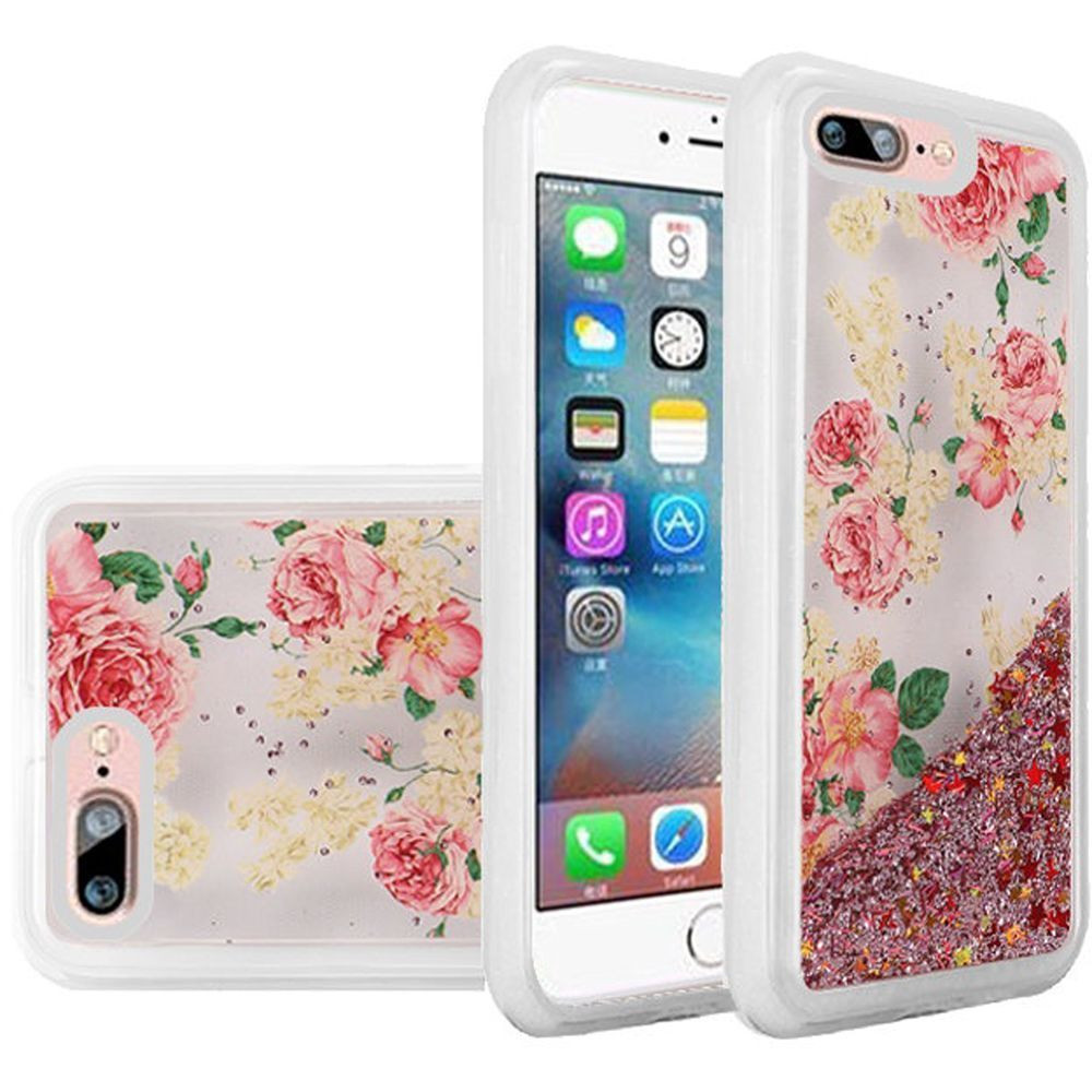 Apple iPhone 8 -  Rose Blossom Design Liquid Glitter TPU Case, Pink