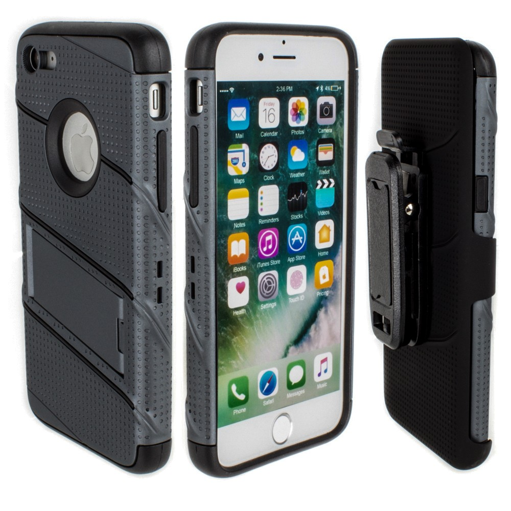 Apple iPhone 7/8 - RoBolt Heavy-Duty Rugged Case and Holster Combo, Dark Gray/Black