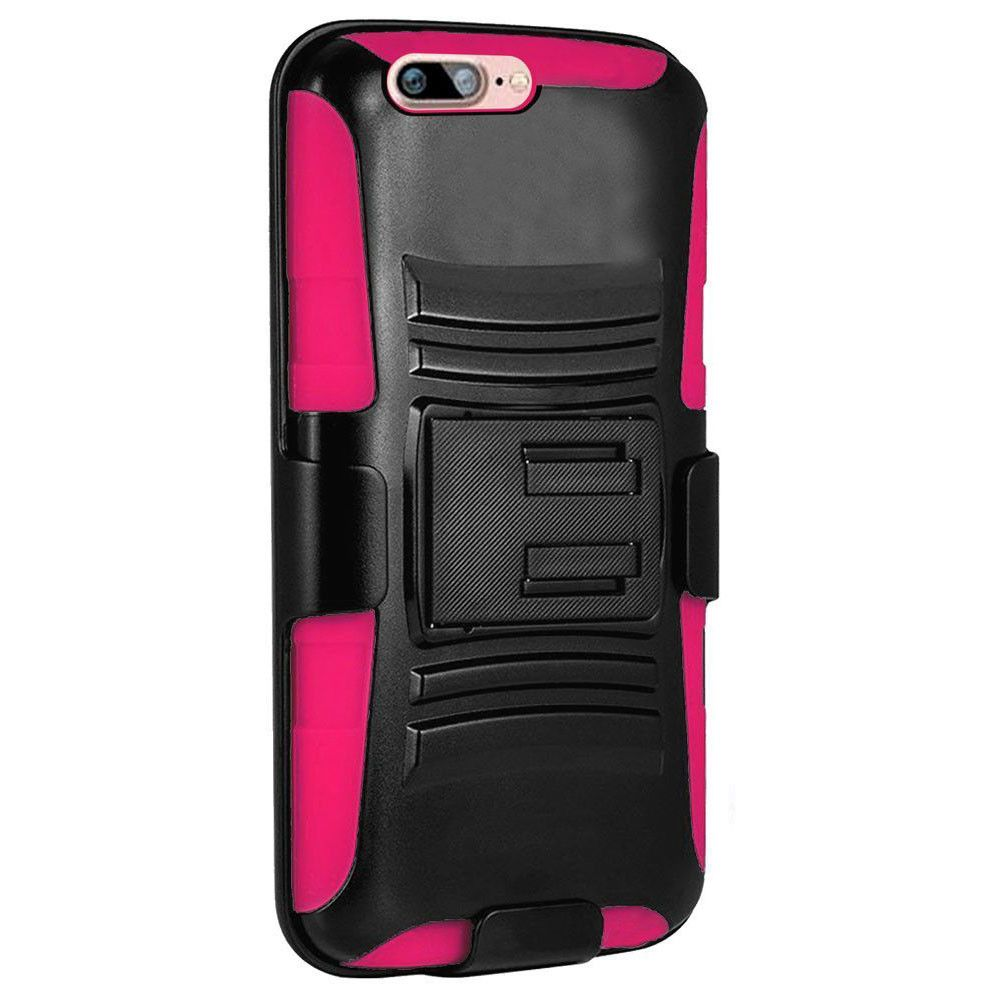 Apple iPhone 8 -  My.Carbon 3-in-1 Rugged Case with Belt Clip Holster, Black/Hot Pink
