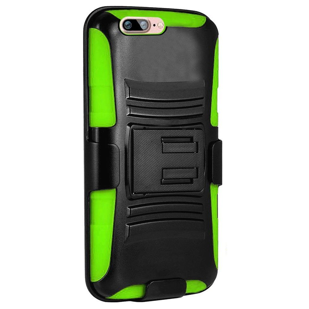 Apple iPhone 8 -  My.Carbon 3-in-1 Rugged Case with Belt Clip Holster, Black/Neon Green