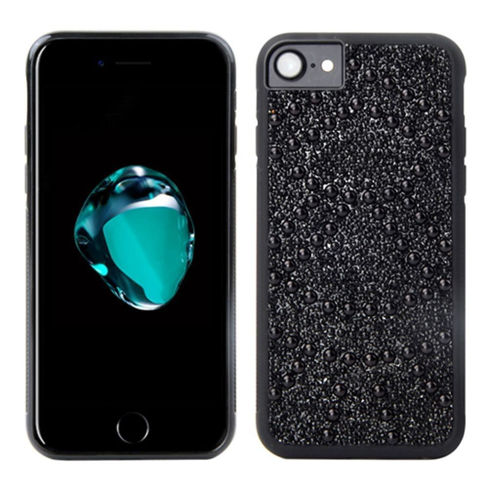 Apple iPhone 8 -  Genuine Crystal and Pearl Shimmer Case, Black
