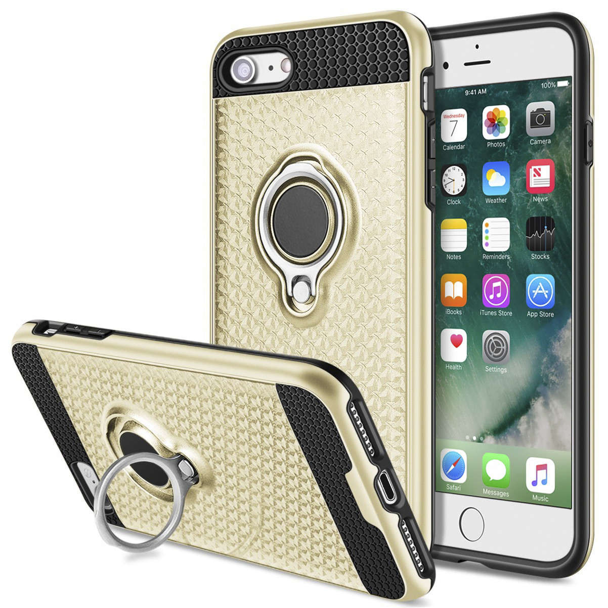 Apple iPhone 8 -  Heavy-Duty Rugged Case with Hideaway Ring Holder Stand, Gold/Black