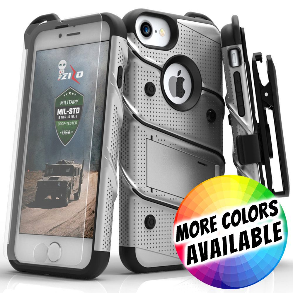 Apple iPhone 8 -  Bolt Heavy-Duty Rugged Case, Holster and Screen Combo, Gray/Black