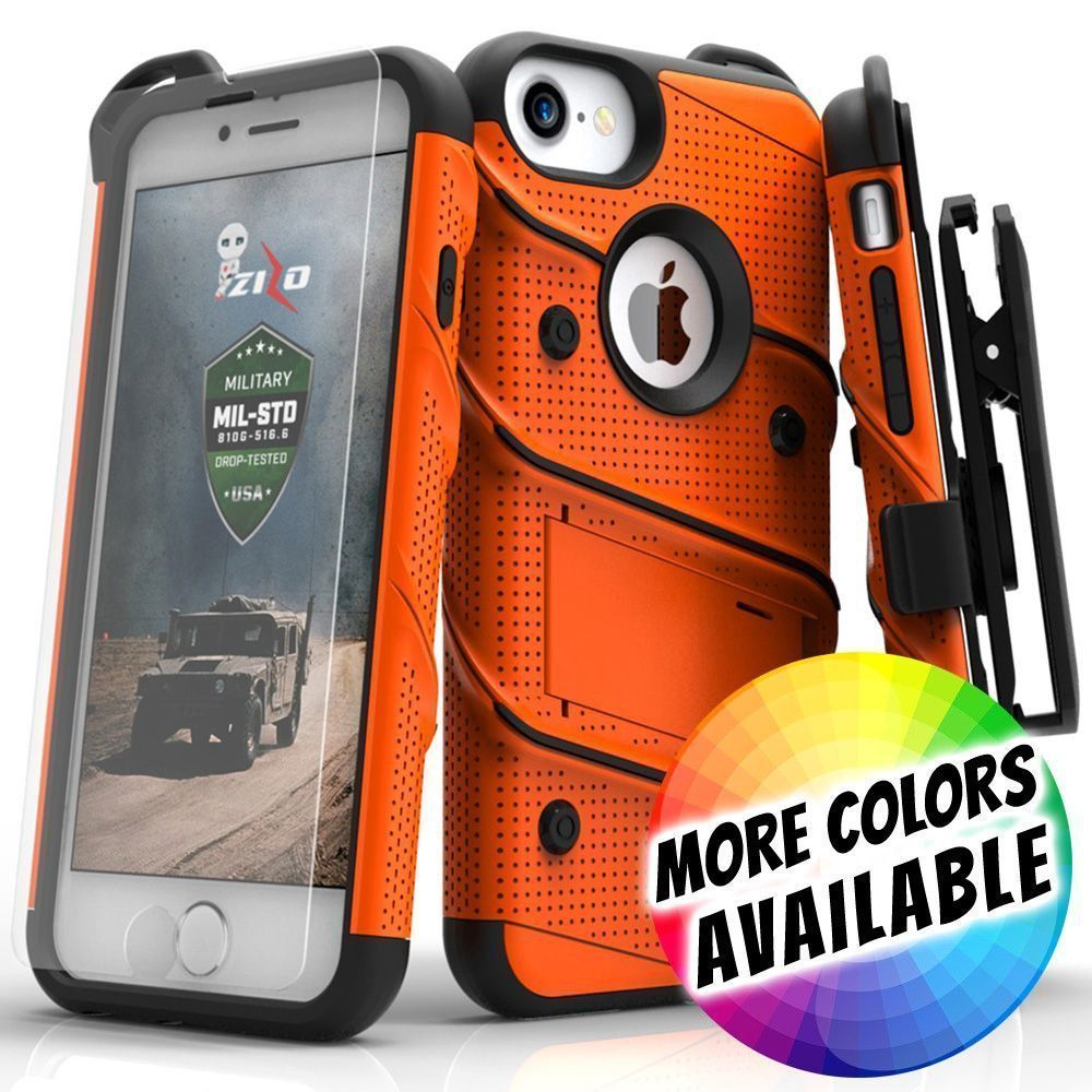 Apple iPhone 8 -  Bolt Heavy-Duty Rugged Case, Holster and Screen Combo, Orange/Black