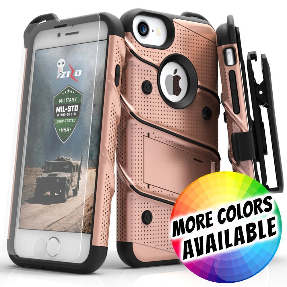 Apple iPhone 8 -  Bolt Heavy-Duty Rugged Case, Holster and Screen Combo, Rose Gold/Black