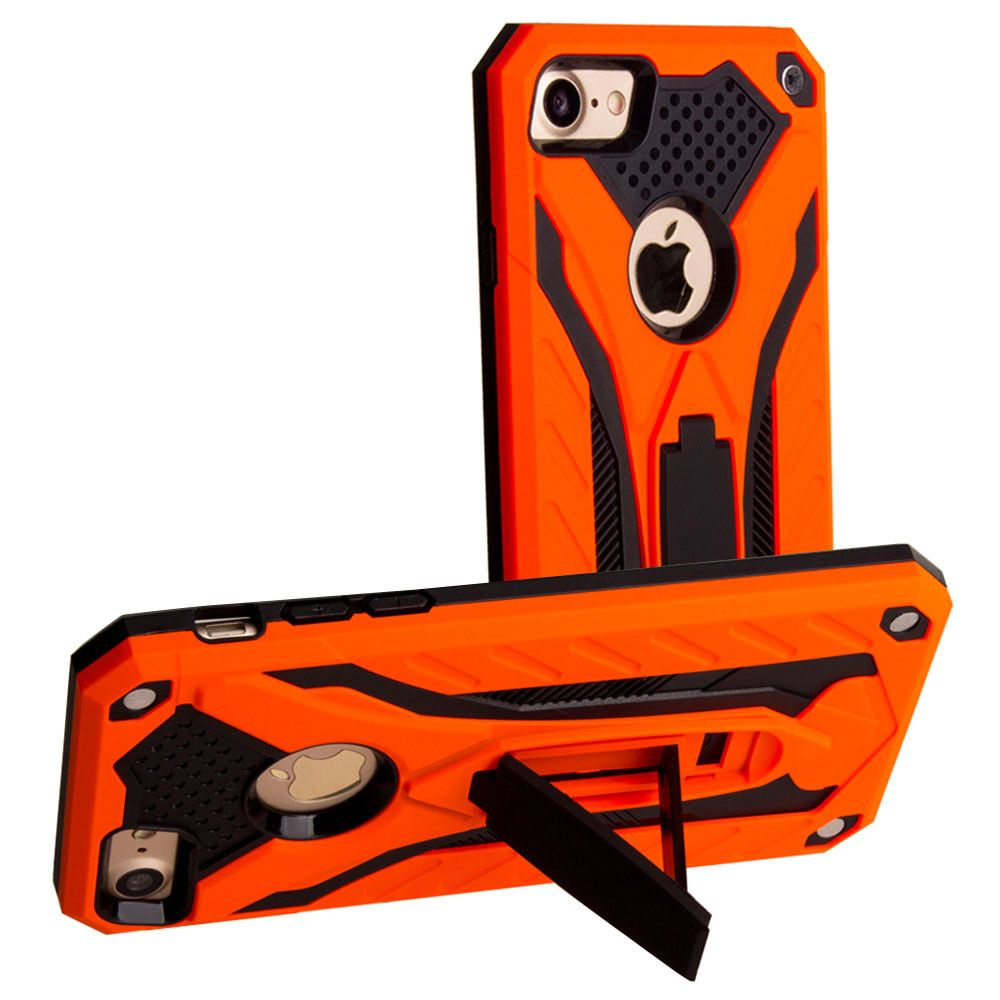 Apple iPhone 8 -  Armor Shockproof Hybrid Case with Stand, Orange/Black