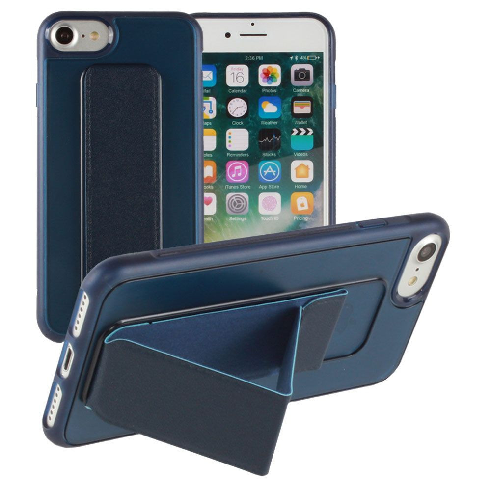 Apple iPhone 8 -  Hard frosted slim case with built in kickstand, Navy Blue